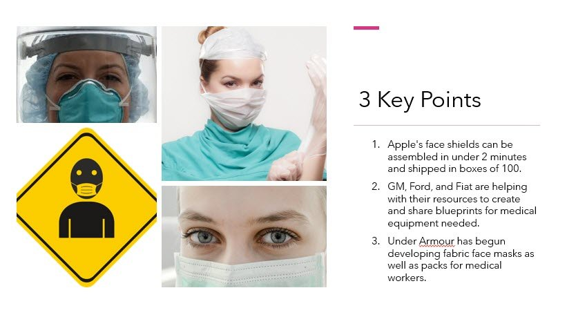 """""""Apple has made over one million face shields a week for medical staff."""""""